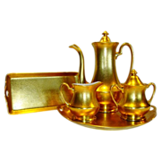 Amazing Pickard 7 Piece Set All over Gold ( AOG ) Coffee Pot w/ lid / Sugar w/ lid and Creamer / 2 Trays ~  Hand Painted with Encrusted Rose and Daisy Pattern ~ Pickard Studios Chicago IL  1931-1938