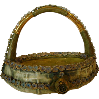 """Exquisite Amphora Basket with Flowers, 10 3/4"""" High ~ Bohemian Early 1900's"""