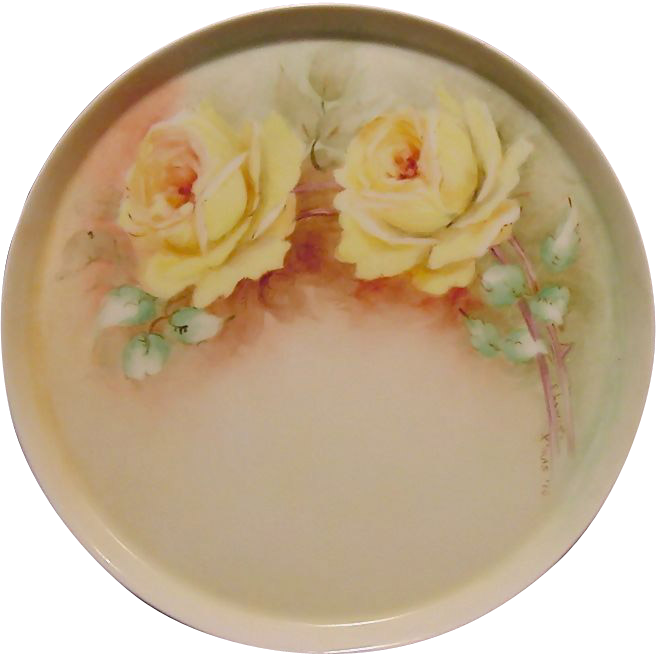 Enamoring Limoges Porcelain Tray ~ Hand Painted with Yellow Roses ~ Artist Signed ~ Tressemann & Vogt ( T&V)  1892 – 1907