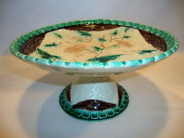 Beautiful Majolica Compote ~ Pink Flowers ~Napkin Design with Basket weave ~ Attribute to NEW MILFORD POTTERY Co. or WANNOPEE POTTERY CN