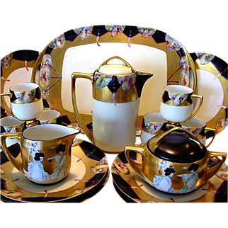 "SALE Stunning and elegant. Haviland Limoges and Bavaria Porcelain 20 PIECE CHOCOLATE Set ~ Hand Painted with Japanese Motif ~ Artist Signed ""Beth'' ~ Haviland / Rosenthal / Paroutaud Freres 1903-1917."