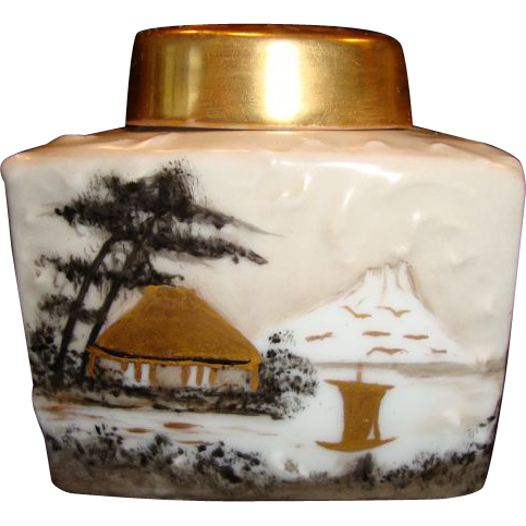 Beautiful Tea Caddy ~ Limoges Porcelain ~ Hand Painted with Oriental Scene ~ Initialed MJ~ Unmarked Tressemann & Vogt Limoges France
