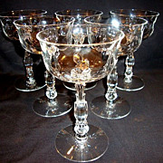 SALE Set of 6 ~  Beautiful Champagne / Tall Sherbets 5 oz~ Cellini (loop Optic) pattern #6024
