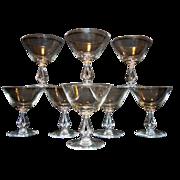 Set of 8 ~  Beautiful Juice Glasses 8 oz  ~ Symphony pattern #6065 – Open Stem #6065 ~by Fostoria, Ohio 1956-1970