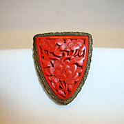 Exquisite Carved Peony Cinnabar Robe Clasp ~ 10 K gold plated~ China