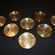 Nice Silver Plate Coasters with Monogrammed `D' ~ LE Mason Co Boston MA 1930's