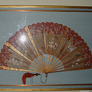 "SALE Extraordinary Large 27"" Hand Held Fan with Alencon Lace Trim Framed ~ Hand Painted with"