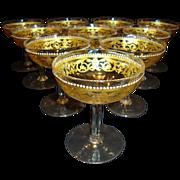 SALE Unique Hand Blown Venetian / Murano 6 OZ Low Sherbet / Champagne Glasses ~ Set of 10 ~ Go