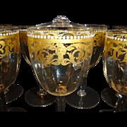 SALE Set of 12 ~Unique Hand Blown Venetian / Murano 8 OZ Wine / Cocktail Glasses ~  Gold Desig