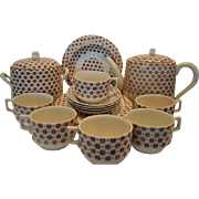 SALE Great Earthenware Set ~ Teapot,  Sugar or Biscuit Jar, 4 Cups, 4  Plates, 4 Saucers or Be