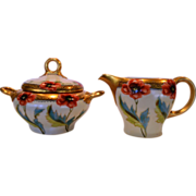 Wonderful Porcelain Creamer & Sugar Set ~ Hand painted with Poppies ~ artist Initialed EM ~ Rosenthal Bavaria 1891-1904  / Pickard Studios Chicago IL 1903-1905
