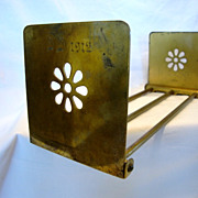 SALE Nice Adjustable Bronze Book Rack ~ Art Deco Flower Design ~ Monogram & Dated 1912 Bradley
