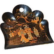 SALE Black Lacquer Paper Mache ~ Crumb Tray / Dust Tray ~ Decorated with Golden Chinoiserie Sc
