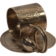 Antique Silver Plated Lily Pad Napkin Ring #168 ~ Rogers Brothers Waterbury Connecticut 1847-1854