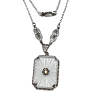 """Sterling Silver Art Deco Camphor Glass Necklace 16 1/2"""" Chain ~ Early 1900's"""