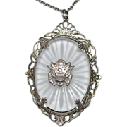 Vintage Sterling Silver Camphor Glass Pendant w/ The Great Seal of the United States