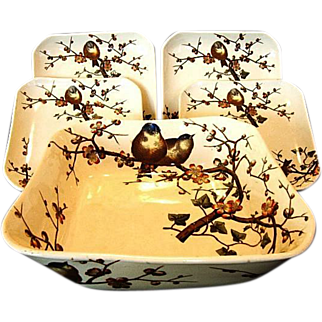 SALE Rare George Jones & Sons ~ Master Salad Bowl and 4 Plate Set ~ ALMOND Pattern ~ Birds and trees~ GJ ca 1880