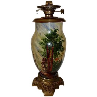 """SALE Rare Baccarat signed, French Glass Oil Lamp 19"""" Tall ~ Hand Painted with French Village Scene ~ artist Baccarat  ~ France 1850's ~ 1880's"""