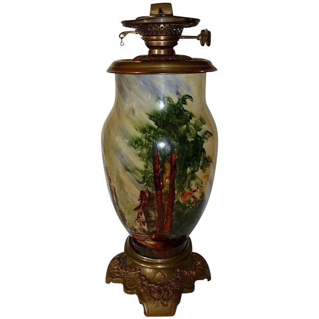 """Rare Baccarat signed, French Glass Oil Lamp 19"""" Tall ~ Hand Painted with French Village Scene ~ artist Baccarat  ~ France 1850's ~ 1880's"""