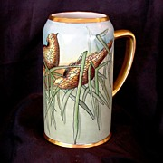 Beautiful Bavarian Mug ~ Hand Painted with Grouse ~ Artist Signed ~ BAVARIA 1900-1930