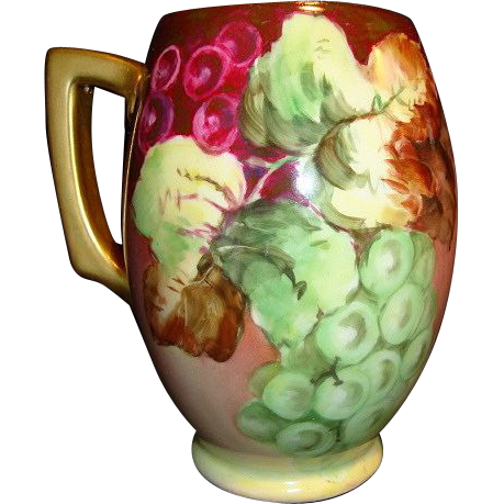 Beautiful Bavarian Porcelain Mug / Stein Hand Painted with Purple and Green Grapes ~ Rosenthal Blank 1907
