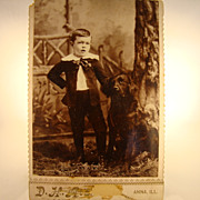 Wonderful Cabinet Card of Boy and Dog ~ Anna, IL 1890's