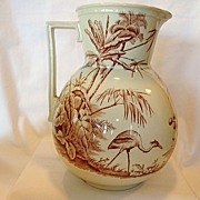 Awesome Large English Aesthetic Earthenware Pitcher ~ Brown transfers of Cranes or Herons, Trees and Foliage~ Indian Pattern ~ Dunn, Bennett & Co. Hanley Staffordshire England 1875 – 1889