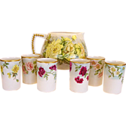 SALE Hand painted Belleek Lemonade / Cider Pitcher with (6) Matching TV Limoges Cups – CAC B