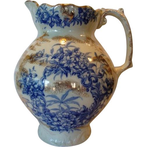 Amazing Earthenware Water Pitcher ~ Blue Floral Transfers ~ Alaska Pattern ~ C. & H. Cockson & Harding Cobridge Staffordshire 1856-1863