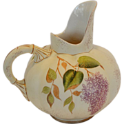 Beautiful Ewer / Pitcher ~ Melon Shape ~ Hand Painted Lilacs and butterflies ~ Hampshire Pottery, Keene, New Hampshire 1871-1923