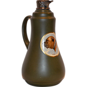 """SALE Wonderful Old Earthenware Pitcher with Bull Mastiff named """"King"""" Decal and Silver Spo"""