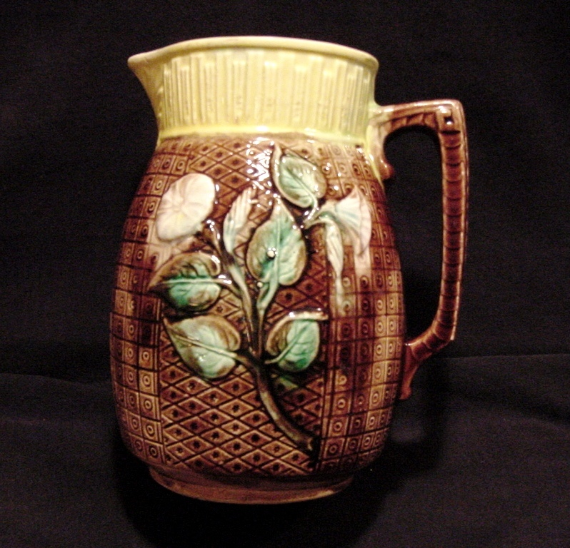 Awesome Brown Majolica Pitcher with Morning Glories