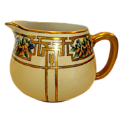 Wonderful Limoges Porcelain Art Deco Lemonade / Cider Pitcher ~ Hand Painted with Passion Fruit and Gold Designs ~ Haviland France 1893-1930
