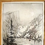 Rare Drypoint Engraving Print of Dream Lake at Rocky Mountain National Park Estes Park Colorado ~ Trial Proof ~ Second State ~ Penciled signed by Richardson Rome 1920's