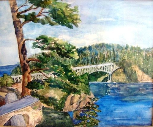 """Fantastic Ink and Watercolor of """"Deception Pass"""" in Anacortes Washington by Clara Elsene Peck 1883-1968"""