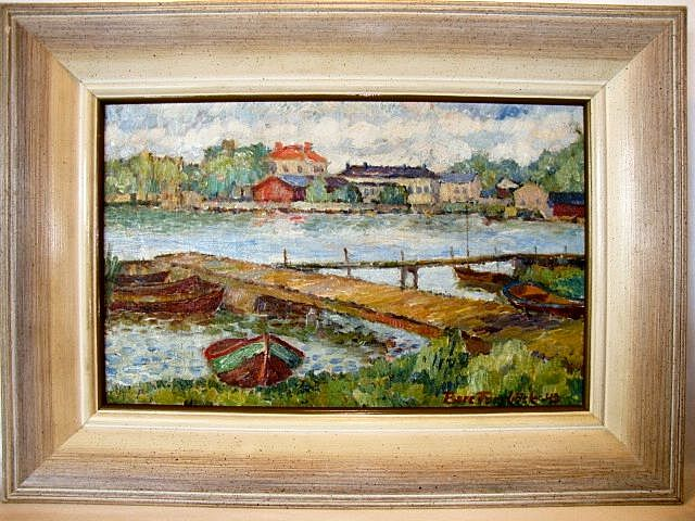 Wonderful Oil on Canvas of a Maritime / Nautical / Sea Shore Impressionist Landscape with Boats ~ White Frame ~ Artist Signed and dated '42