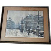 "Narodni Divadlo (National Theater) In Winter ~ Signed Color Etching 20.5"" Framed under Gl"