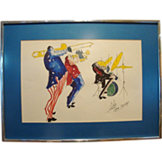 Fantastic Original Framed Vintage  Ink & Watercolor on Paper ~ Three Jazz Musicians ~ Signed by Michael Smiroldo late 1960's to early 1970's