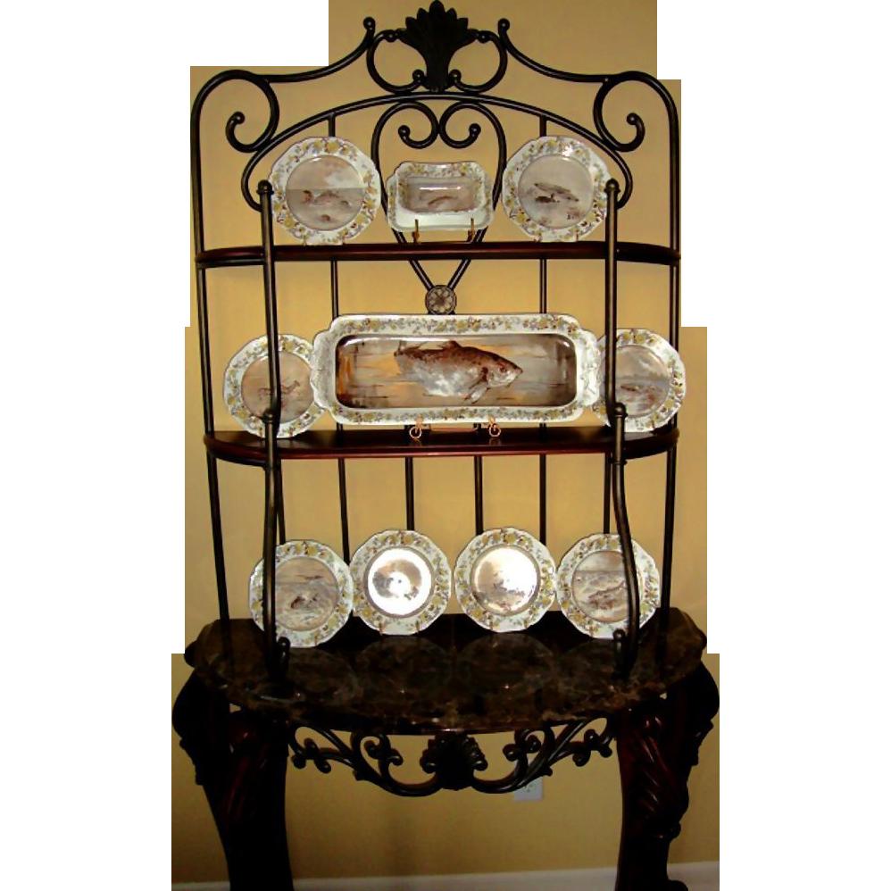 "Magnificent Presidential Fish Set ~ 22"" Platter ~ Haviland 2nd issue of President Rutherford B. Hays Design ~ Haviland & Co Limoges France 1887-1889"