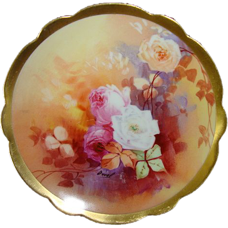 """Great 6"""" Limoges Porcelain Decorative Plate ~ Hand Painted by """" Duval """" with White, Yellow & Pink Roses ~  Limoges France /  Coronet 1891-1920"""