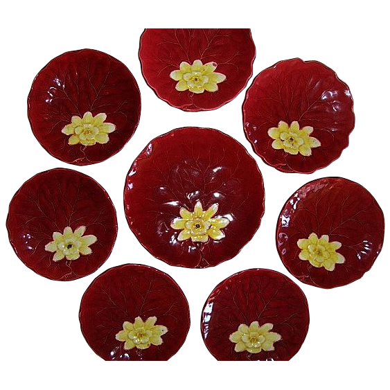 """8- Colorful German Majolica Red """"Water Lily"""" 7 Cabinet Plates / 1 Master Plate ~  Dessert Set ~ ZELL United Ceramic Factories - GEORG SCHMIDER (Germany) - ca 1907 – 1928"""
