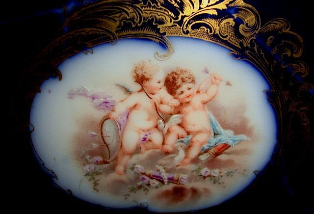 Museum Quality Limoges Porcelain Cabinet Plate Hand Painted with Cherubs / Putti & Doves ~ Cobalt Background~ Delinieres & Co  ~ Limoges France 1879-1900