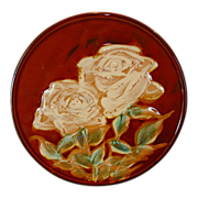 Unique & Beautiful Japanese Plaque / Plate with Majolica like White Roses ~ Japan 1920's