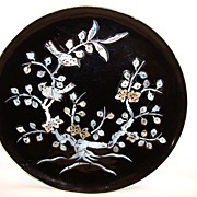 SALE Remarkable Black Lacquer Plate with Flowering Tree and Birds Inlaid