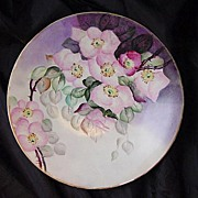 Beautiful Limoges Porcelain Cabinet Plate Hand Pained with Pink/White Tea Roses~ Jean Pouyat Limoges France ( JPL ) 1890-1932