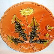 SALE Awesome LARGE-SIZED German Majolica Plate Hand Painted with Dandelion ~ ZELL United Ceram