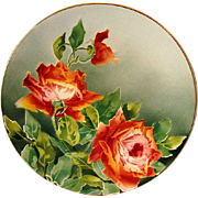 "Illuminating 12 3/8"" French Faience / Majolica Charger with Red Roses ~ KELLER & GUERIN - ERNEST BUSSIERE (Nancy, France) - ca. 1890s - 1930s"
