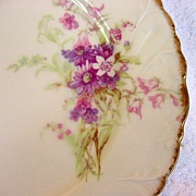 SALE Beautiful Limoges Porcelain Cabinet Plate ~ Decorated with Delicate Purple and Pink Flowe