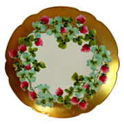 Gorgeous Limoges Porcelain Cabinet Plate ~ Hand Painted with Pink Clover Flowers ~ George Borgfeldt ( Coronet ) / PM Mavaleix Limoges France 1895-1905