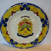 Colorful Faience Colorado State (Territory) Souvenir Plate ~ Keller Guerin Luneville France 1920's +.